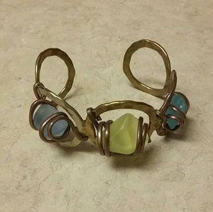 Handmade OOAK Copper Seaglass Cuff Bracelet